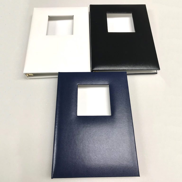 Funeral Memorial Guest Book, White, Laying Flat, White, Black, Blue