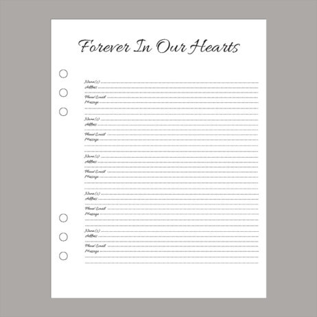 Funeral Memorial Guest Book Insert Page
