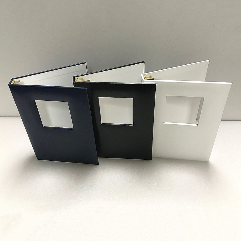 Funeral Memorial Guest Book Standing Blue, Black and White